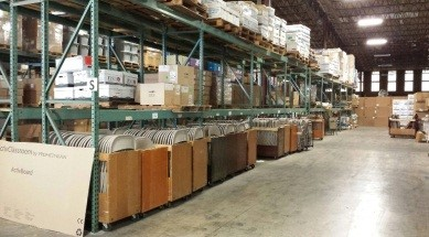 Warehouse shelves with organized items