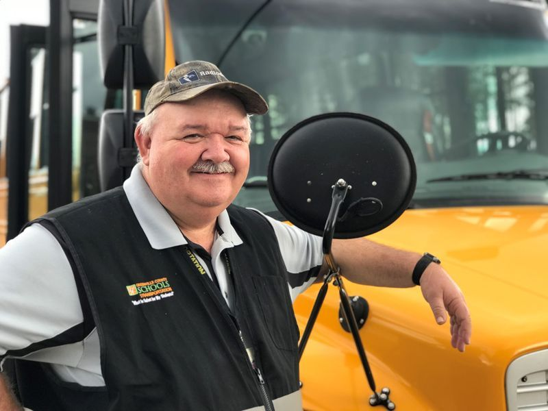 Mike Goodwin, GCS Bus driver with 40 years of service.
