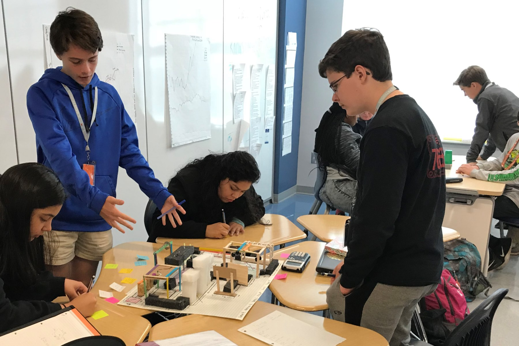 A group of high schools students working on a robotics project