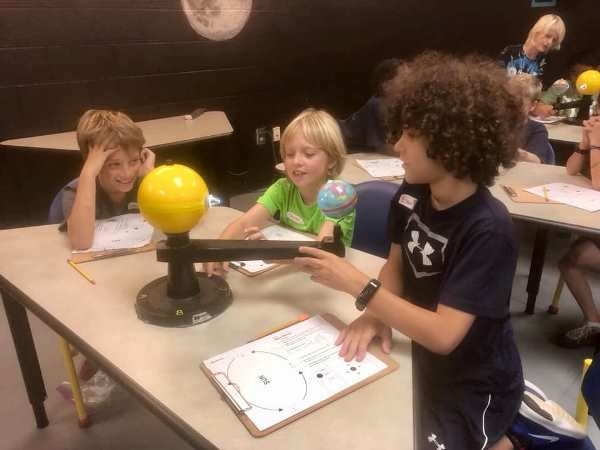 Students at a table in an astronomy activity