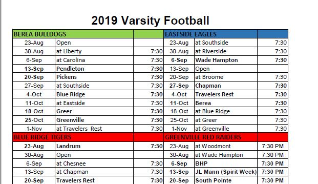 Varsity Football Schedules Available