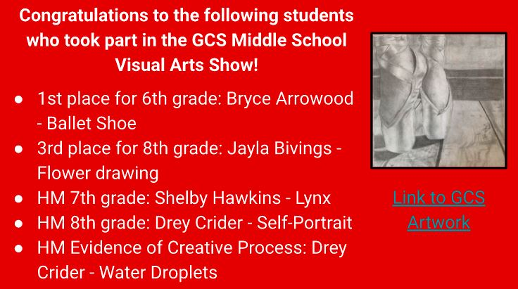 Blue Ridge Middle School Art Contest Participants and Winners!