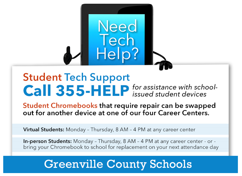 Please work with the school and teachers to solve most issues but if you need more call 355-HELP and receive assistance from our trained technology specialist