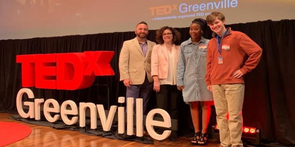 Sitzler and students at TedX
