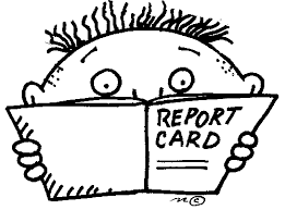 Cartoon child holding a report card