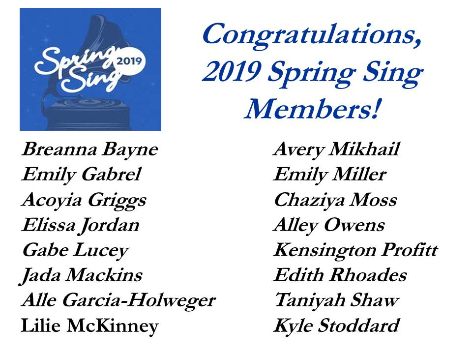 Spring Sing 2019 Participants