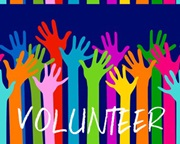 Volunteer graphic with hands raised
